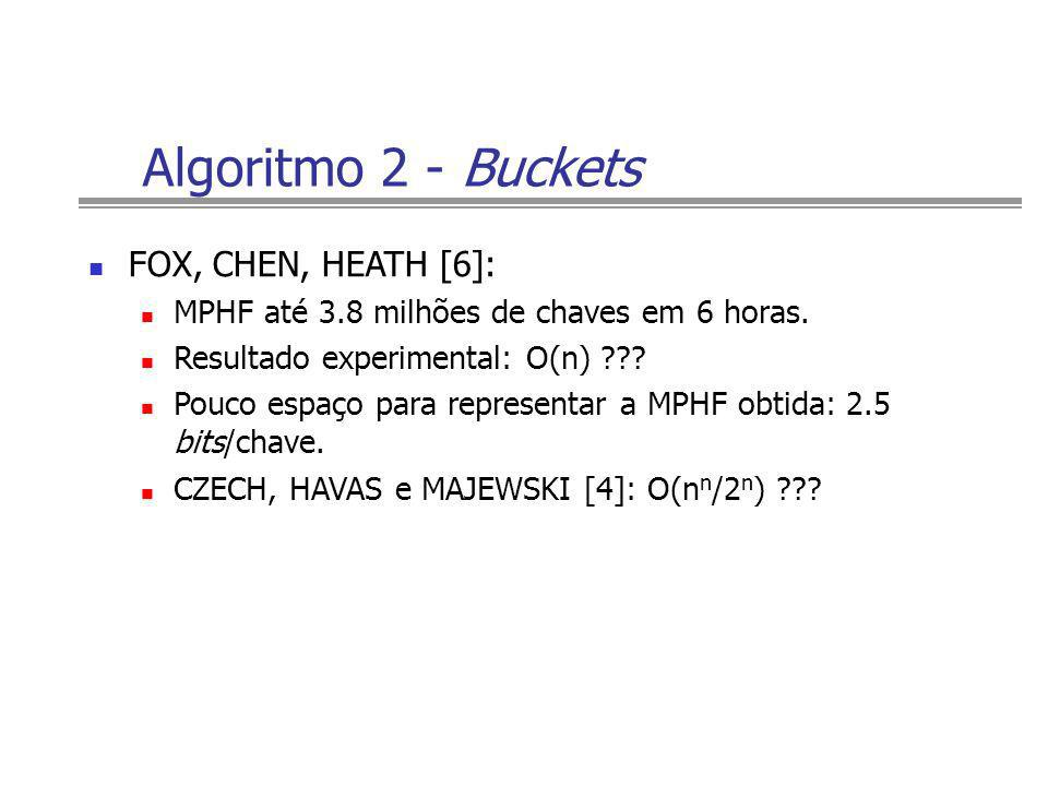 Algoritmo 2 - Buckets FOX, CHEN, HEATH [6]: